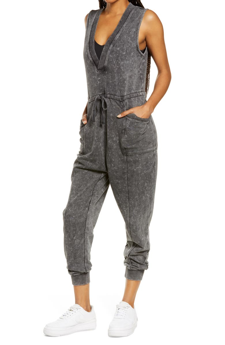 ZELLA All Day Oversize Sleeveless Jumpsuit, Main, color, BLACK