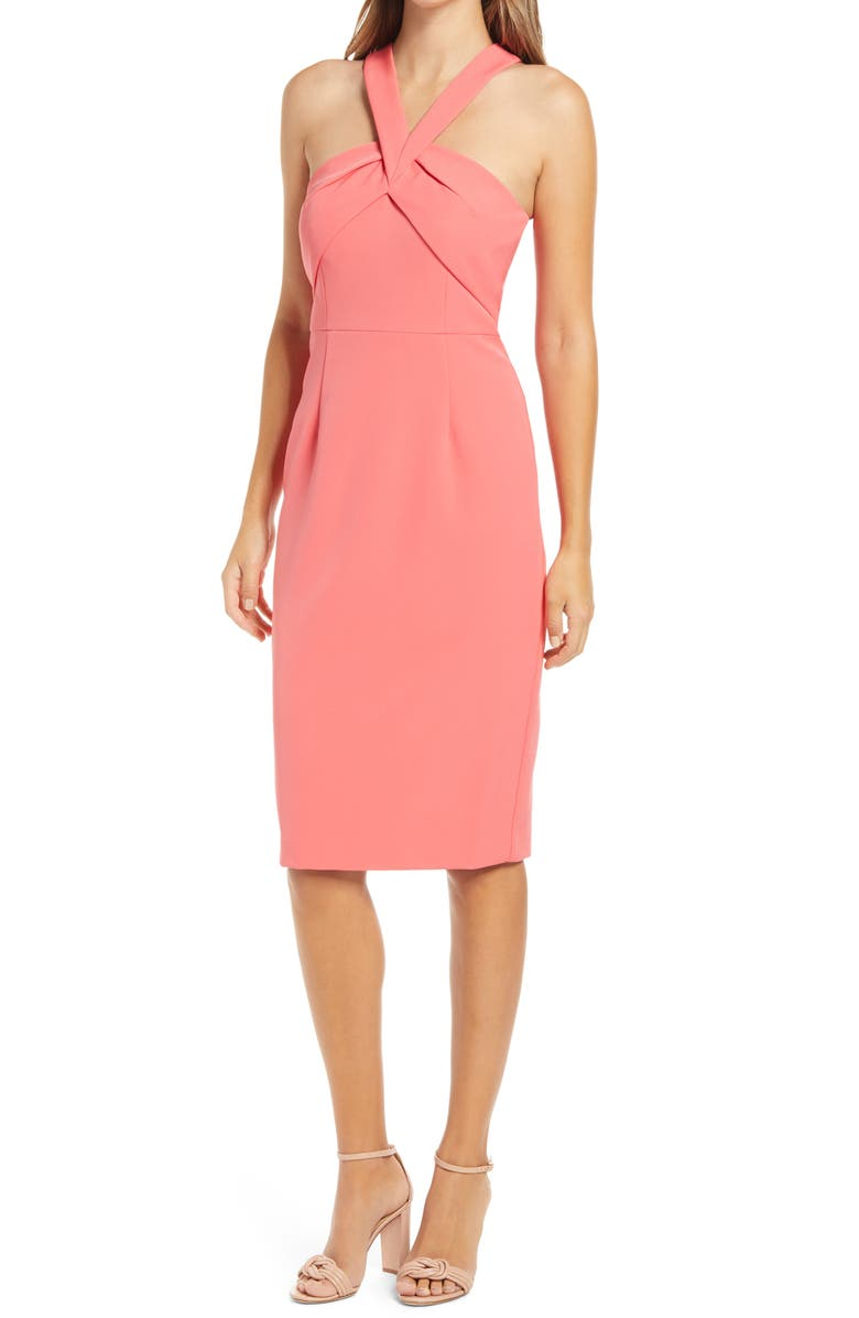 VINCE CAMUTO Halter Neck Sleeveless Dress, Main, color, CORAL