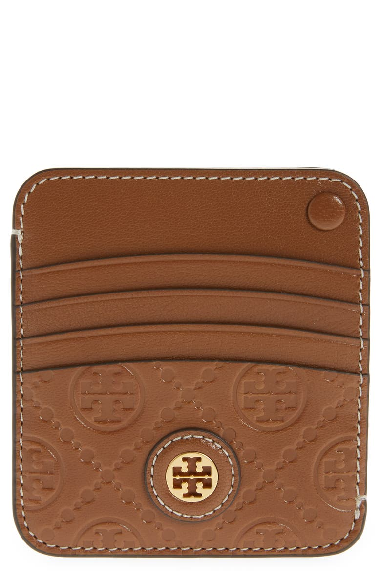 TORY BURCH T Monogram Leather Card Case, Main, color, MOOSE