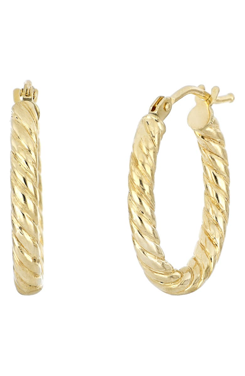 BONY LEVY 14K Gold Twisted Oval Gold Hoop Earrings, Main, color, YELLOW GOLD