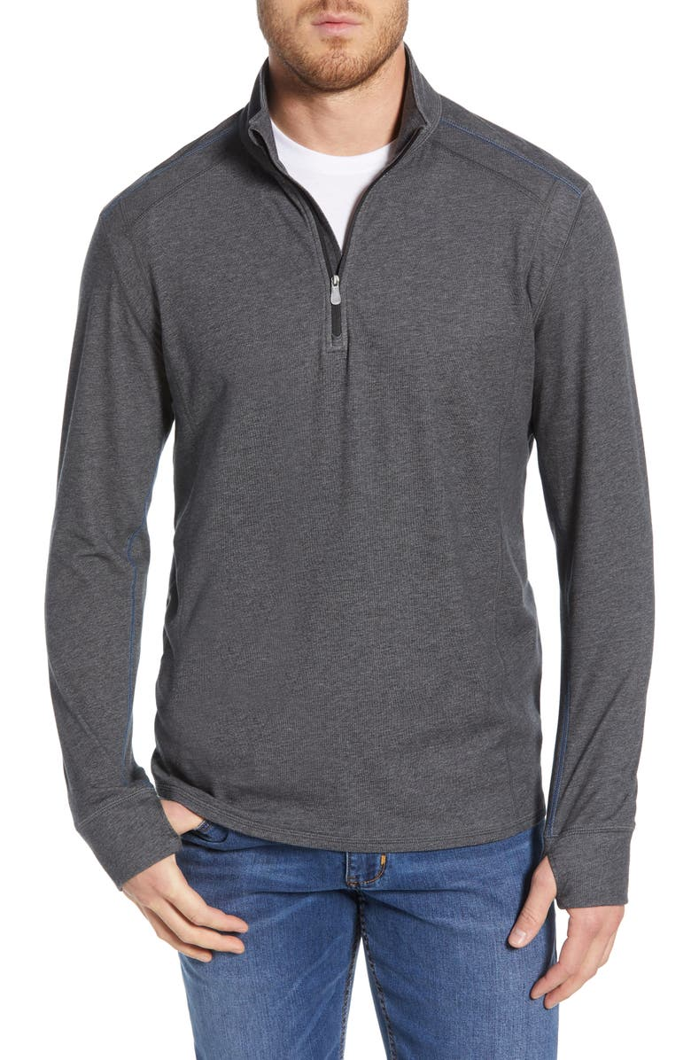 TOMMY BAHAMA IslandActive<sup>®</sup> Palm Valley Half Zip Performance Pullover, Main, color, 001