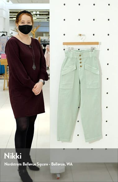 Paperbag Waist Twill Ankle Pants, sales video thumbnail