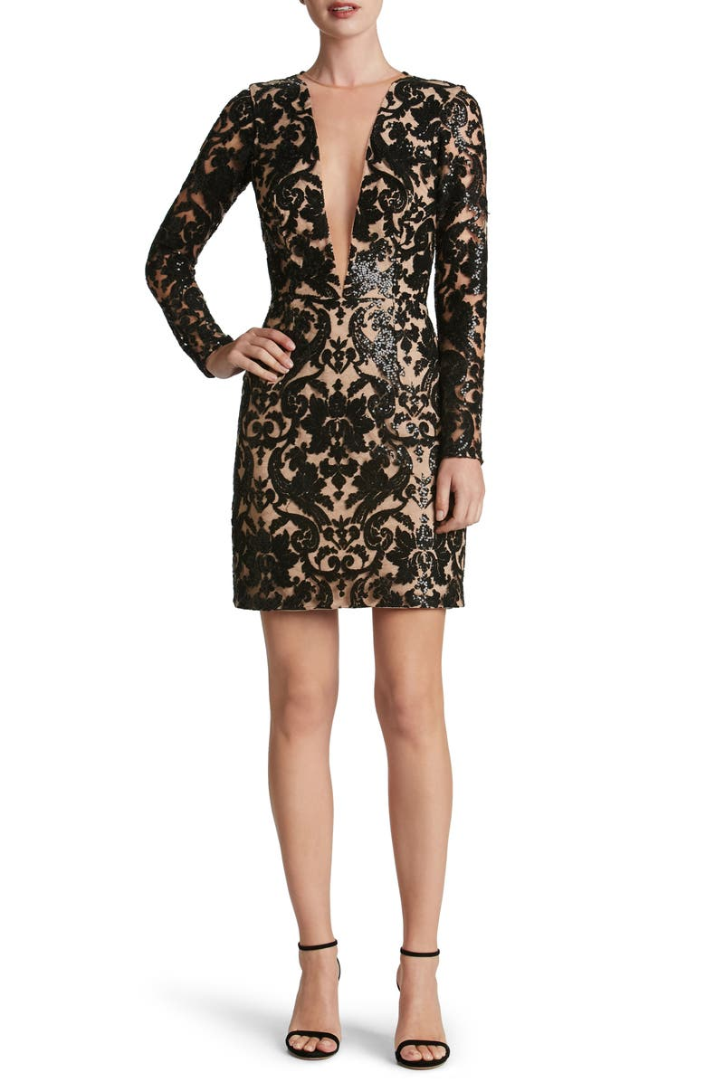 DRESS THE POPULATION Claudia Plunging Illusion Sequin Lace Minidress, Main, color, 014