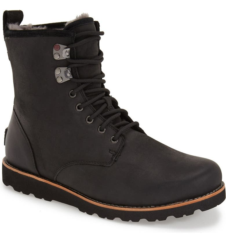 UGG<SUP>®</SUP> Hannen Plain Toe Waterproof Boot with Genuine Shearling, Main, color, 001