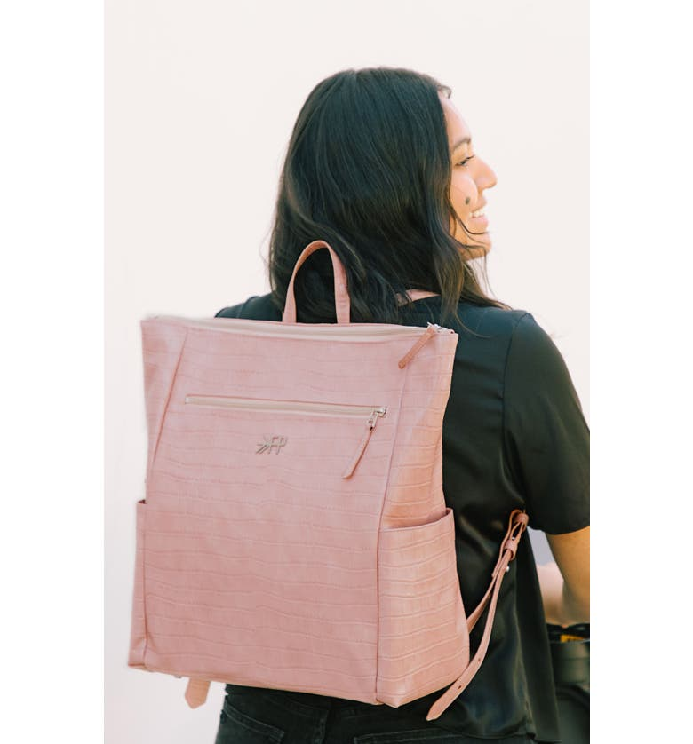 FRESHLY PICKED Minimal Water Resistant Faux Leather Diaper Backpack, Main, color, ROSE