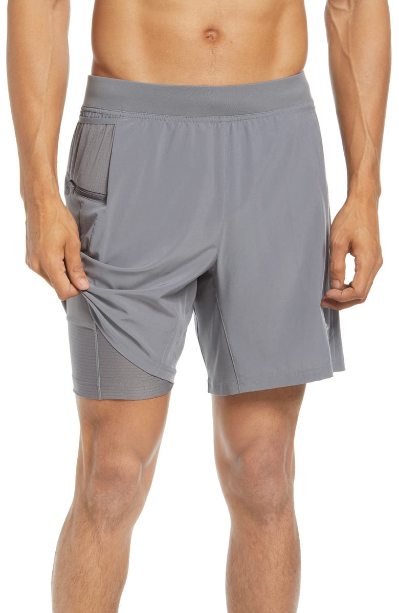 """BROOKS 7"""" 2-in-1 Cargo Running Shorts, Main, color, STEEL"""