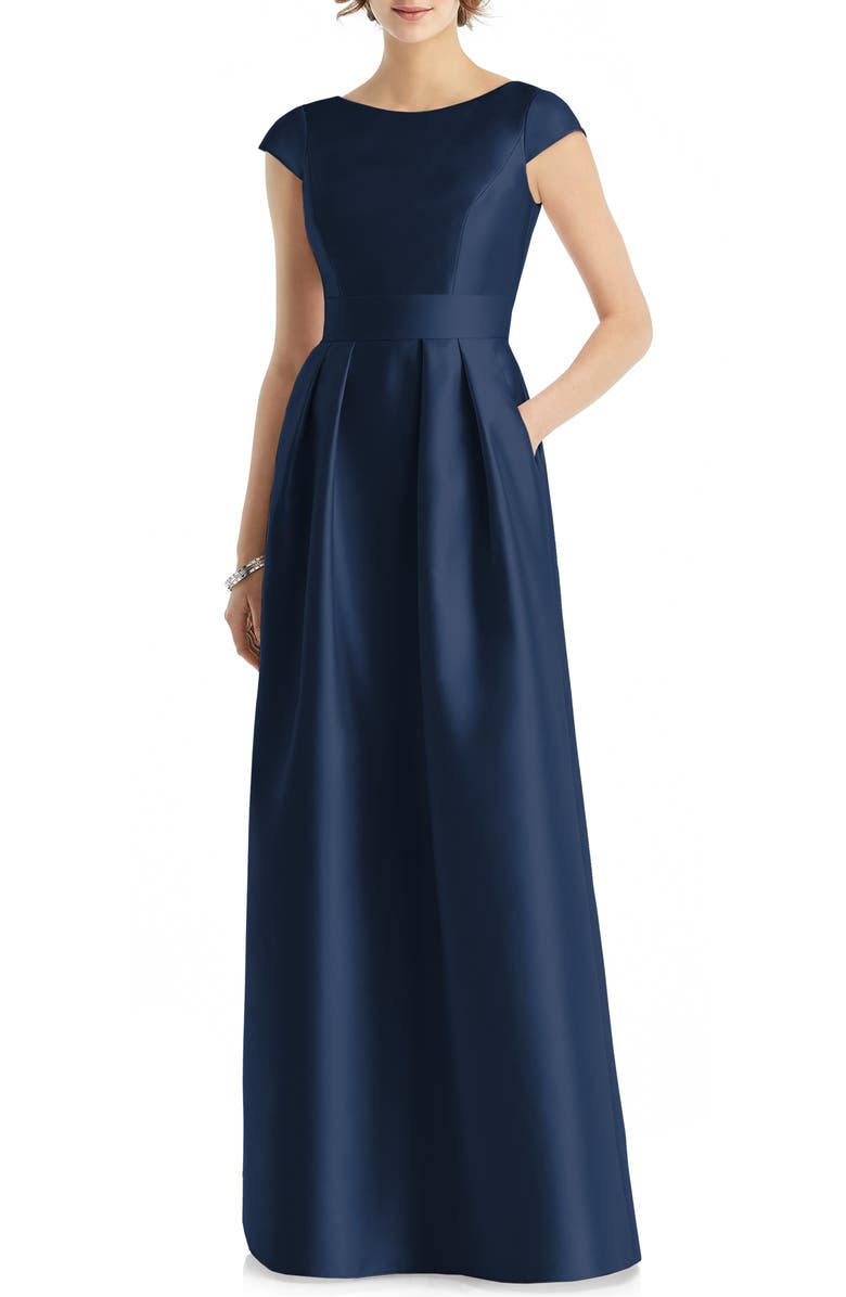 ALFRED SUNG Cap Sleeve A-Line Gown, Main, color, 410