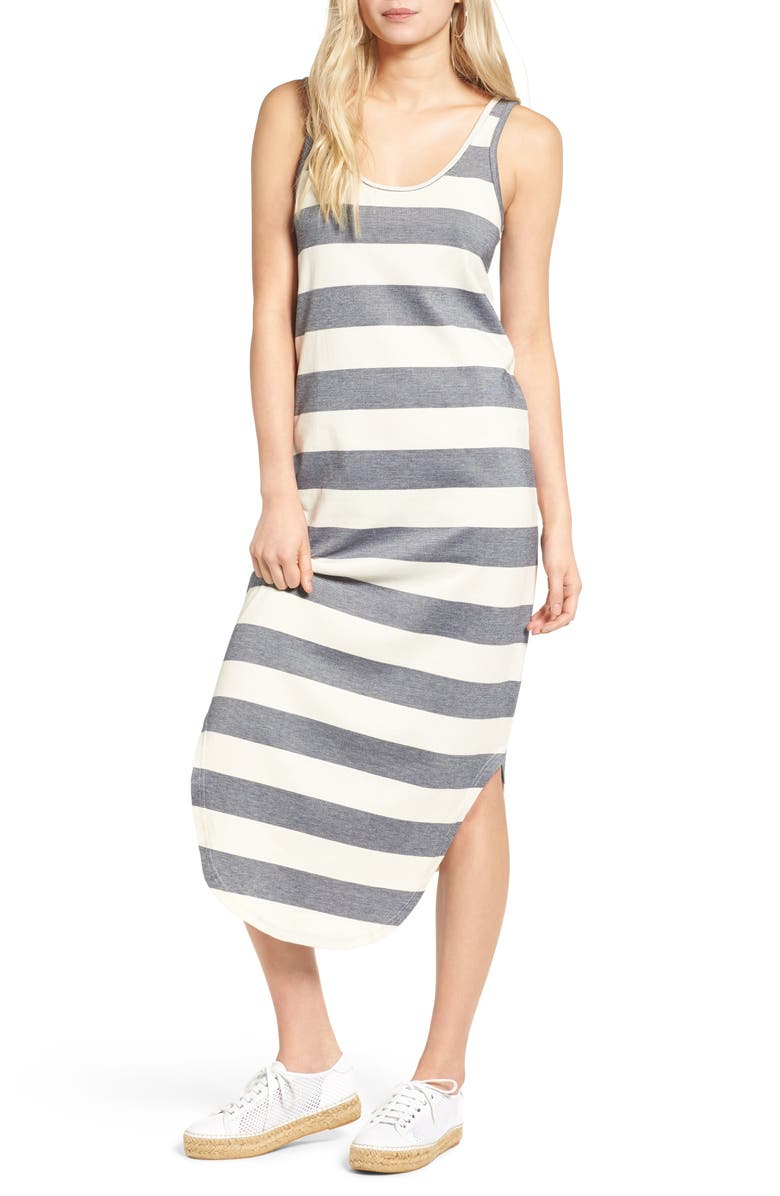 THE FIFTH LABEL Chelsea Stripe Midi Dress, Main, color, NATURAL AND NAVY STRIPE