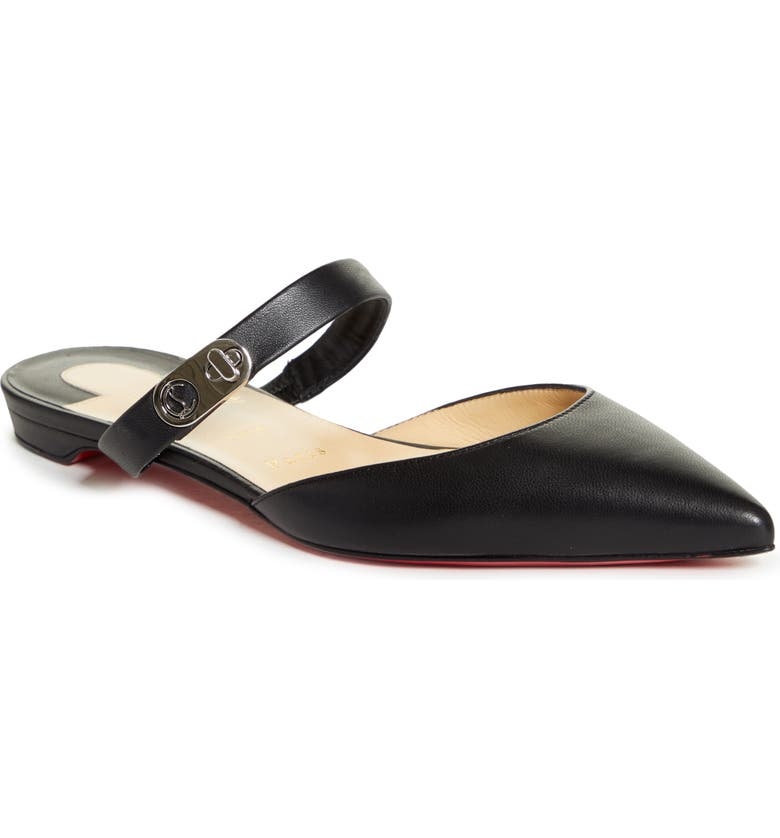 CHRISTIAN LOUBOUTIN Strappy Pointed Toe Mule, Main, color, BLACK