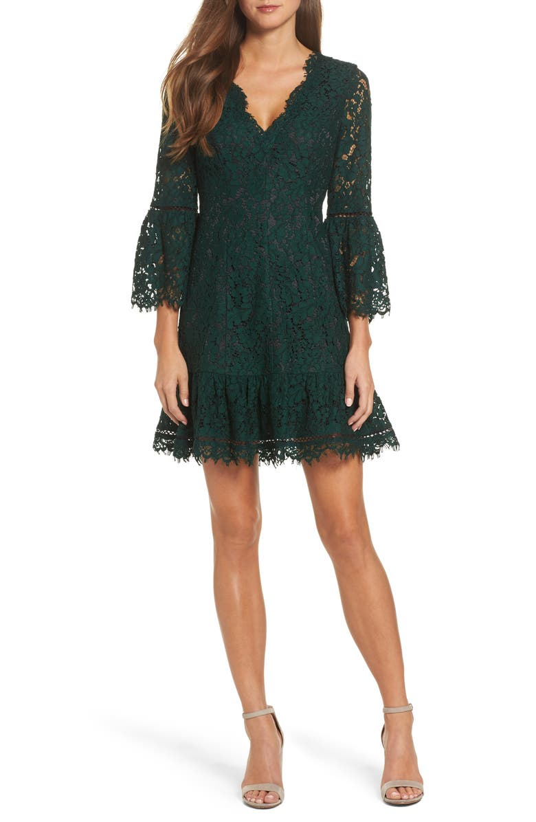 ELIZA J Bell Sleeve Lace Cocktail Dress, Main, color, 310
