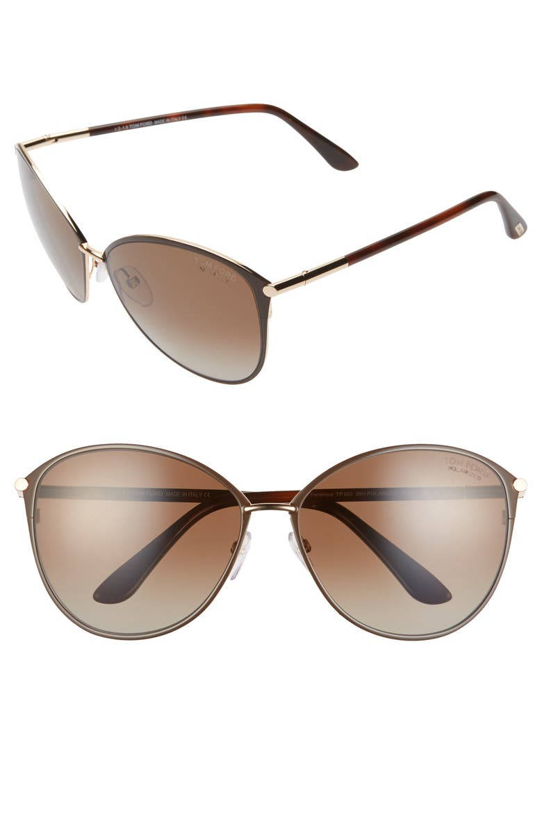 TOM FORD Penelope 59mm Gradient Cat Eye Sunglasses, Main, color, SHINY ROSE GOLD/ BROWN