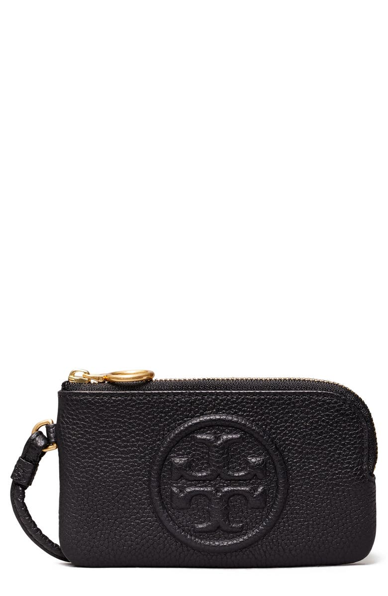 TORY BURCH Perry Bombé Leather Card Case, Main, color, BLACK