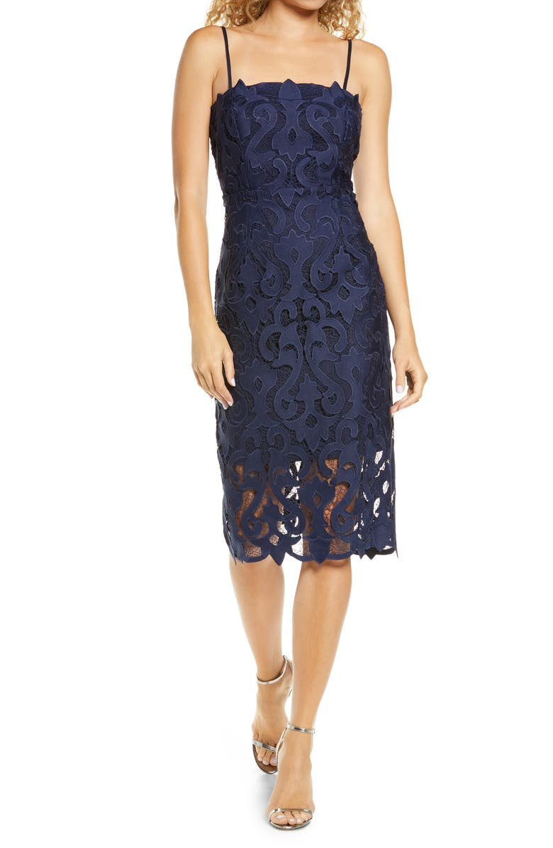 BARDOT Lina Lace Cocktail Dress, Main, color, 410