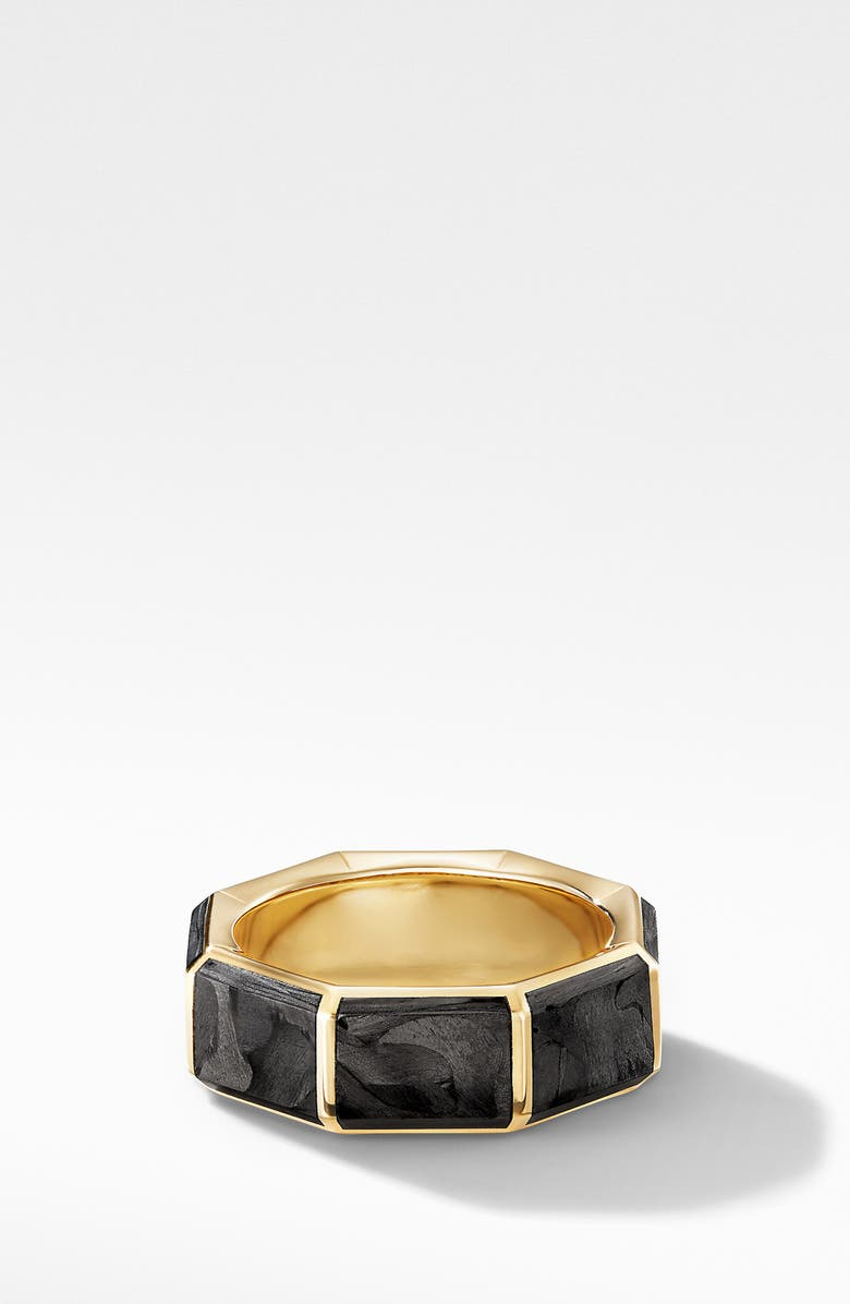 DAVID YURMAN Faceted 18k Yellow Gold Band Ring with Forged Carbon, Main, color, GOLD/ FORGED CARBON