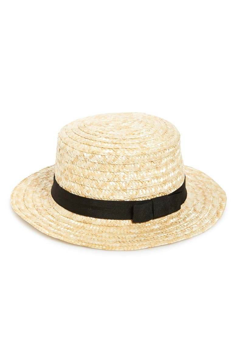 BP. Bow Band Straw Boater Hat, Main, color, 250