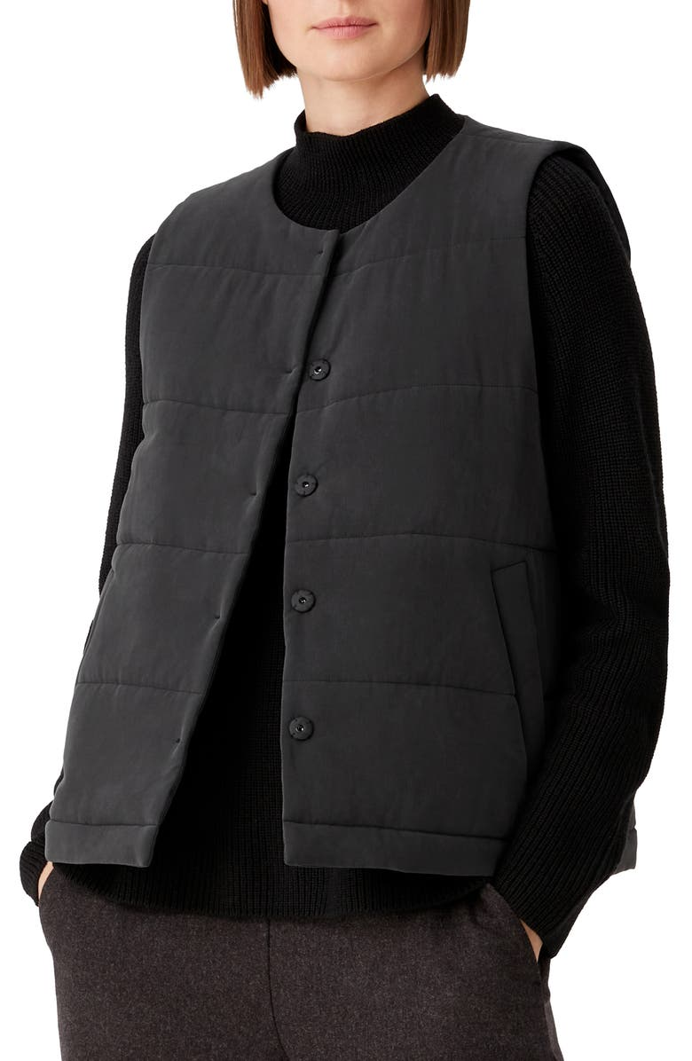 EILEEN FISHER Quilted Fuji Silk Vest, Main, color, CHARCOAL