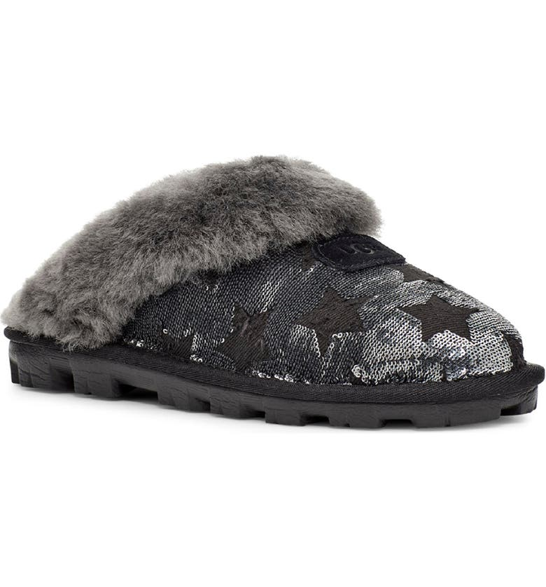UGG<SUP>®</SUP> Sequin Stars Genuine Shearling Slipper, Main, color, 001
