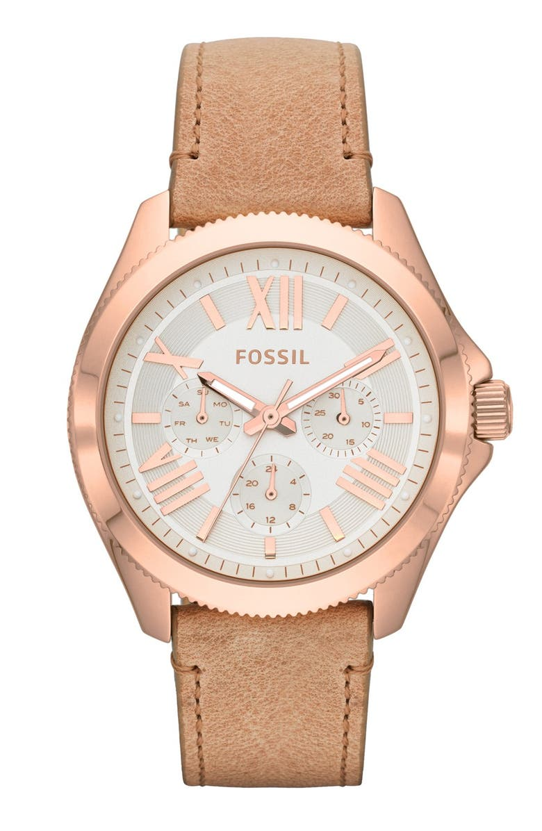 FOSSIL 'Cecile' Multifunction Leather Strap Watch, 40mm, Main, color, 000