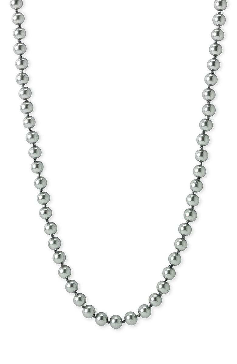 NORDSTROM 8mm Glass Pearl Necklace, Main, color, Grey
