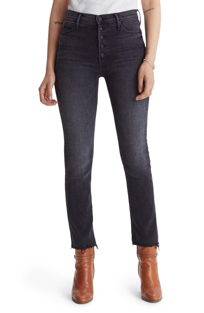 MOTHER The Pixie Dazzler Fray Hem Ankle Jeans, Main, color, NIGHT SHADOW