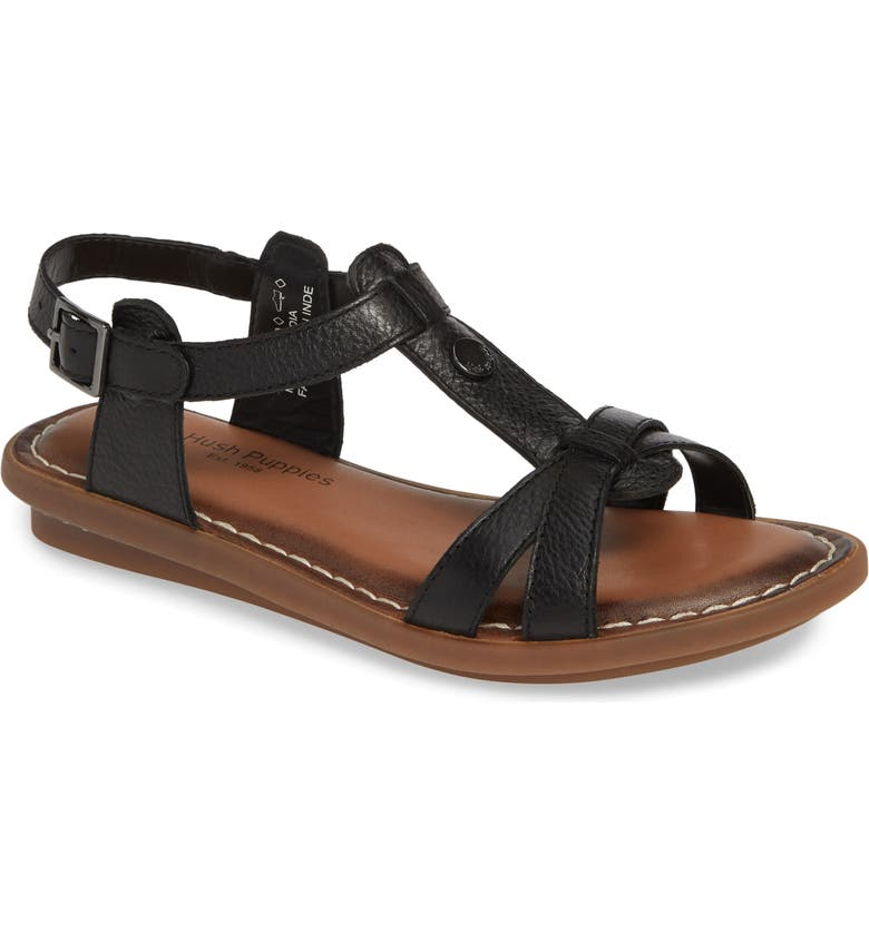 HUSH PUPPIES<SUP>®</SUP> Olive T-Strap Sandal, Main, color, 001