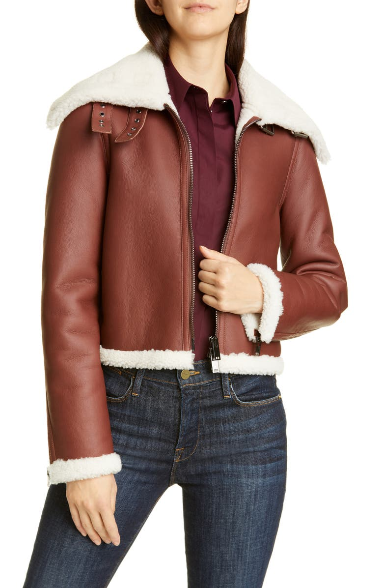 THEORY Crop Genuine Shearling Jacket, Main, color, 200