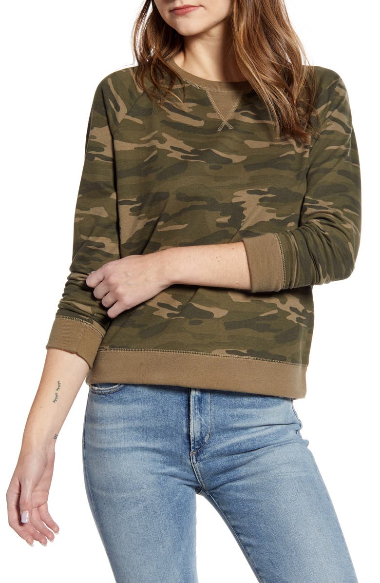 LUCKY BRAND Camo Sweatshirt, Main, color, 340