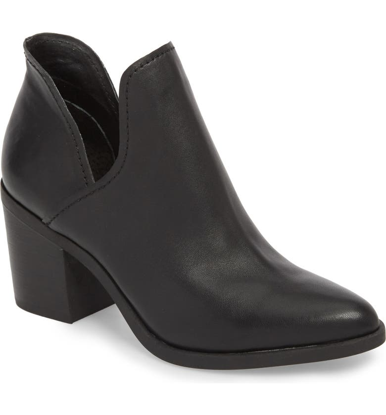 STEVE MADDEN Petra Open Side Bootie, Main, color, BLACK LEATHER