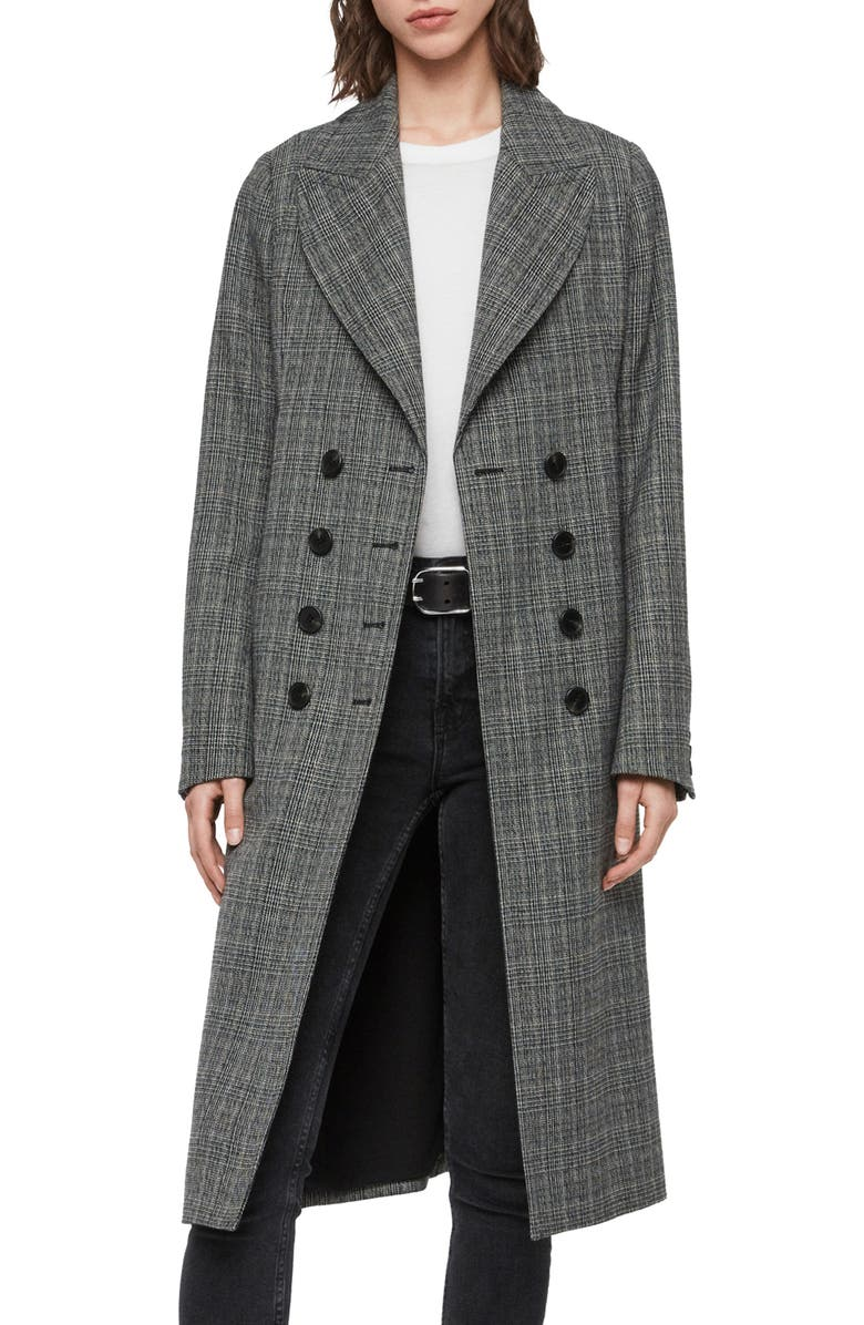 ALLSAINTS Blair Check Wool Blend Coat, Main, color, 001