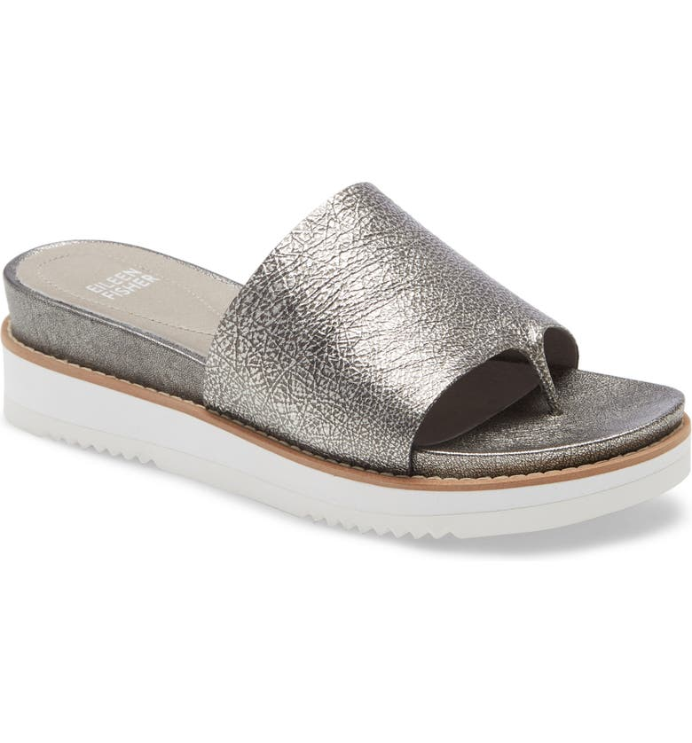 EILEEN FISHER Touch Platform Sandal, Main, color, SILVER METALLIC LEATHER