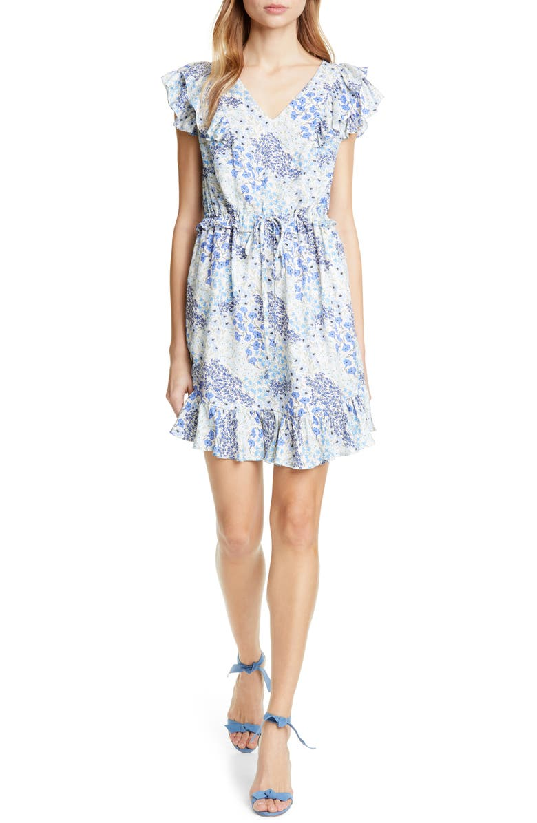 REBECCA TAYLOR Ava Ruffle Silk Minidress, Main, color, 400