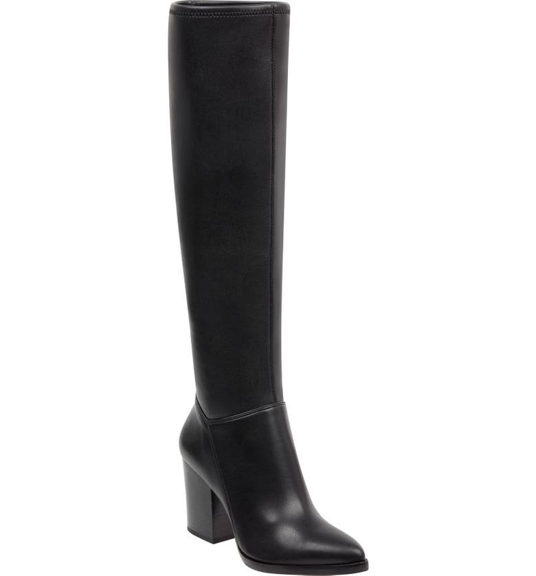 MARC FISHER LTD Anata Knee High Boot, Main, color, BLACK LEATHER