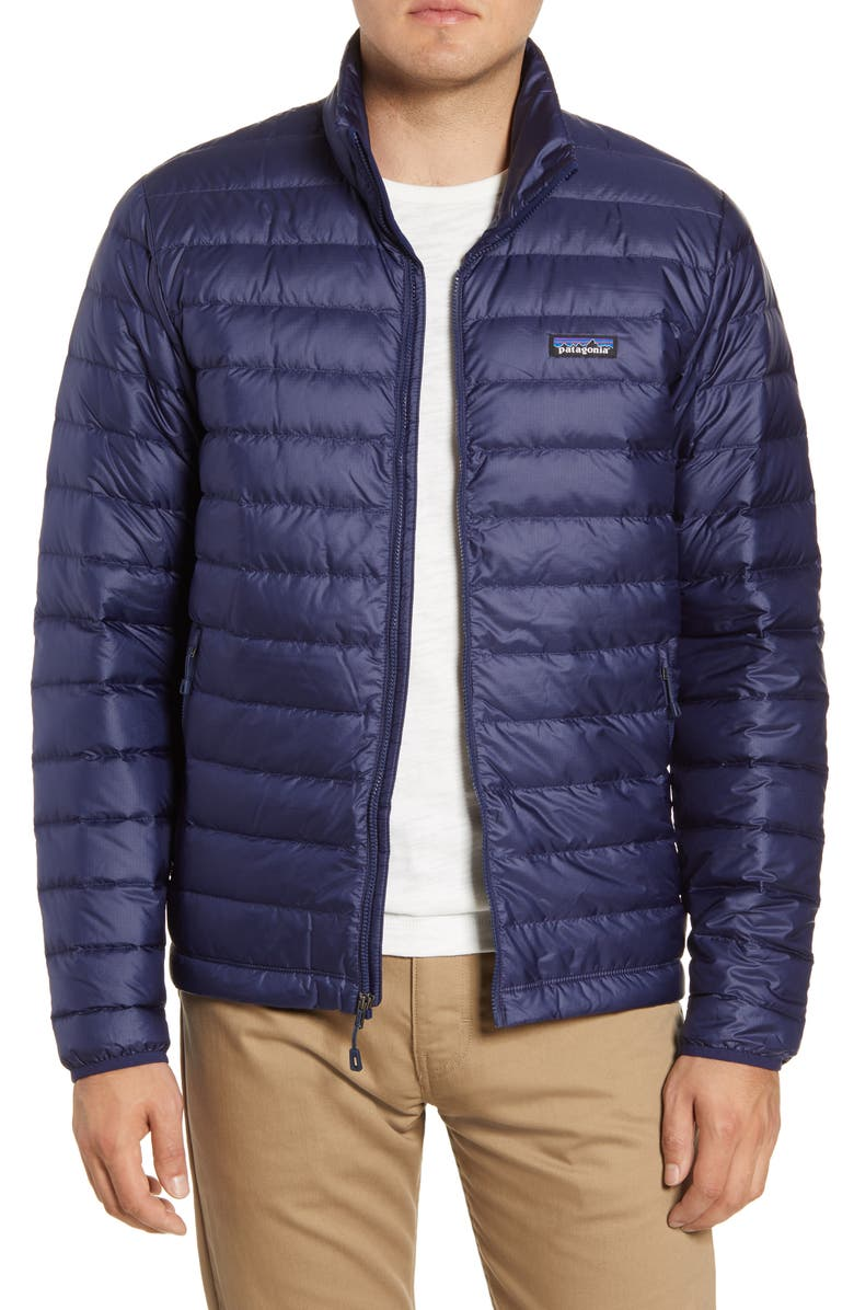 PATAGONIA Water Repellent Down Jacket, Main, color, CLASSIC NAVY/ CLASSIC NAVY