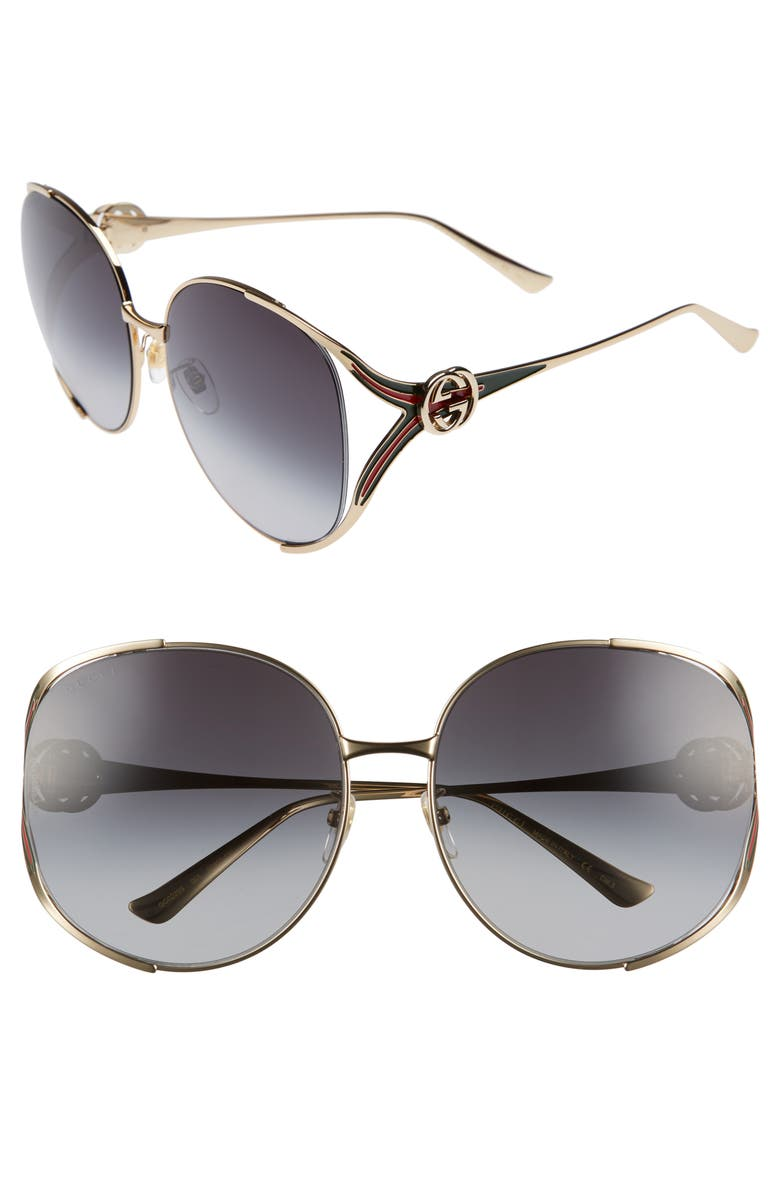 GUCCI 63mm Gradient Oversize Open Temple Round Sunglasses, Main, color, GOLD/ RED/ GREY