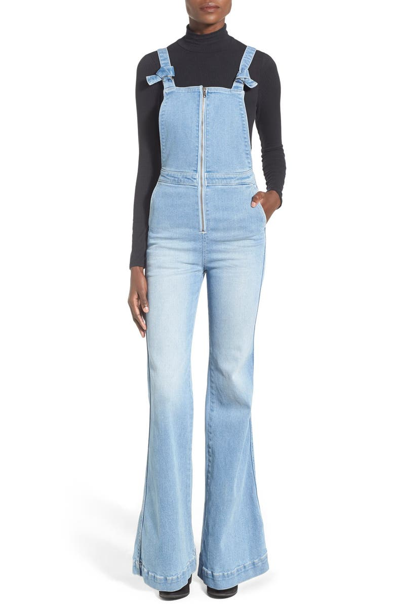 ROLLA'S Rolla's 'East Coast' Front Zip Flare Overalls, Main, color, BYRON BLUE