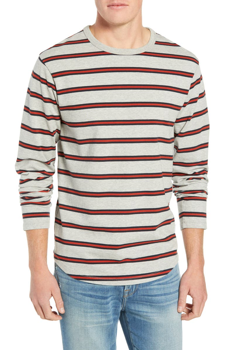FRAME Stripe Slim Fit Long Sleeve Crewneck T-Shirt, Main, color, 021