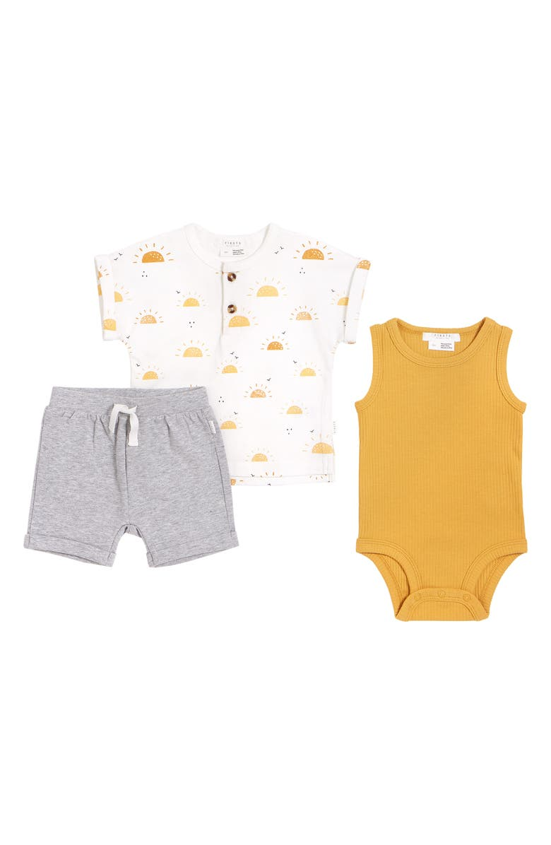 FIRSTS BY PETIT LEM Soleil Henley, Shorts & Sleeveless Bodysuit Set, Main, color, OFF WHITE