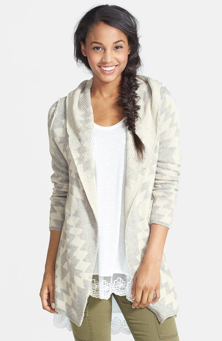 WOVEN HEART Geo Pattern Hooded Cardigan, Main, color, GREY/ IVORY