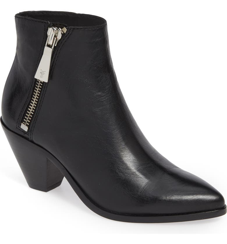 FRYE Lila Pointy Toe Bootie, Main, color, BLACK LEATHER