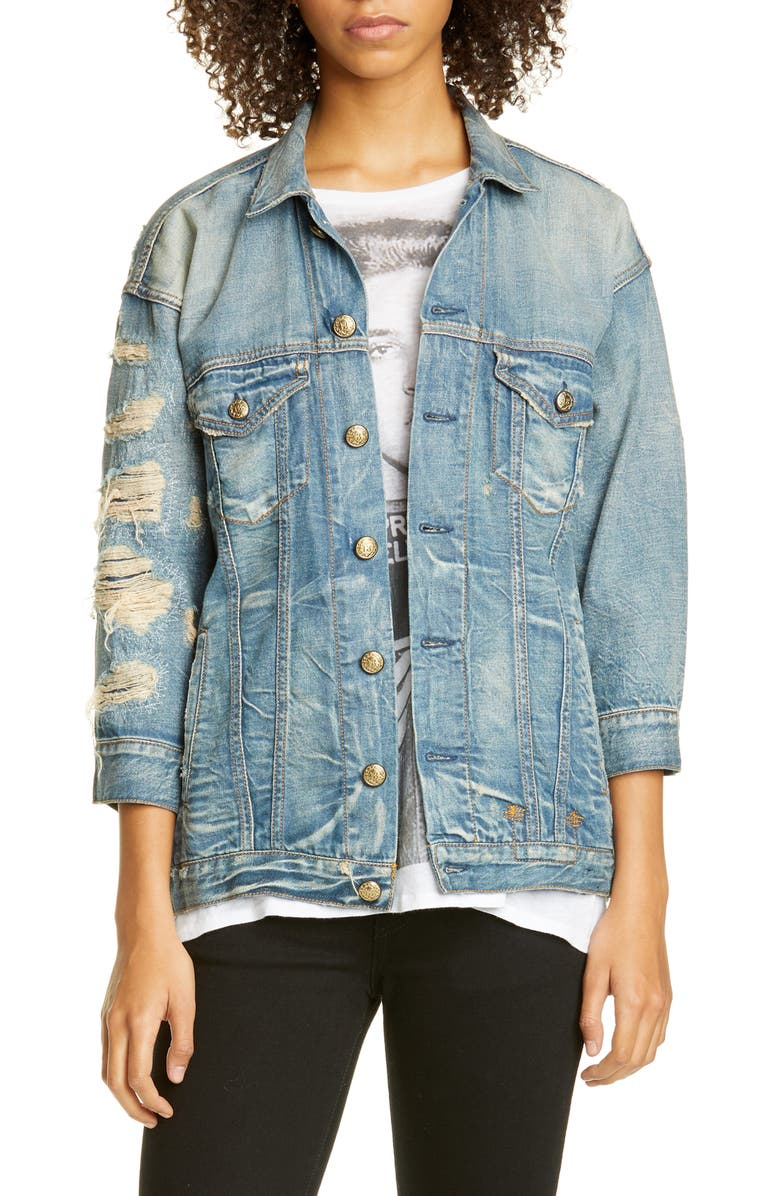 R13 Destroyed Oversize Denim Trucker Jacket, Main, color, 424