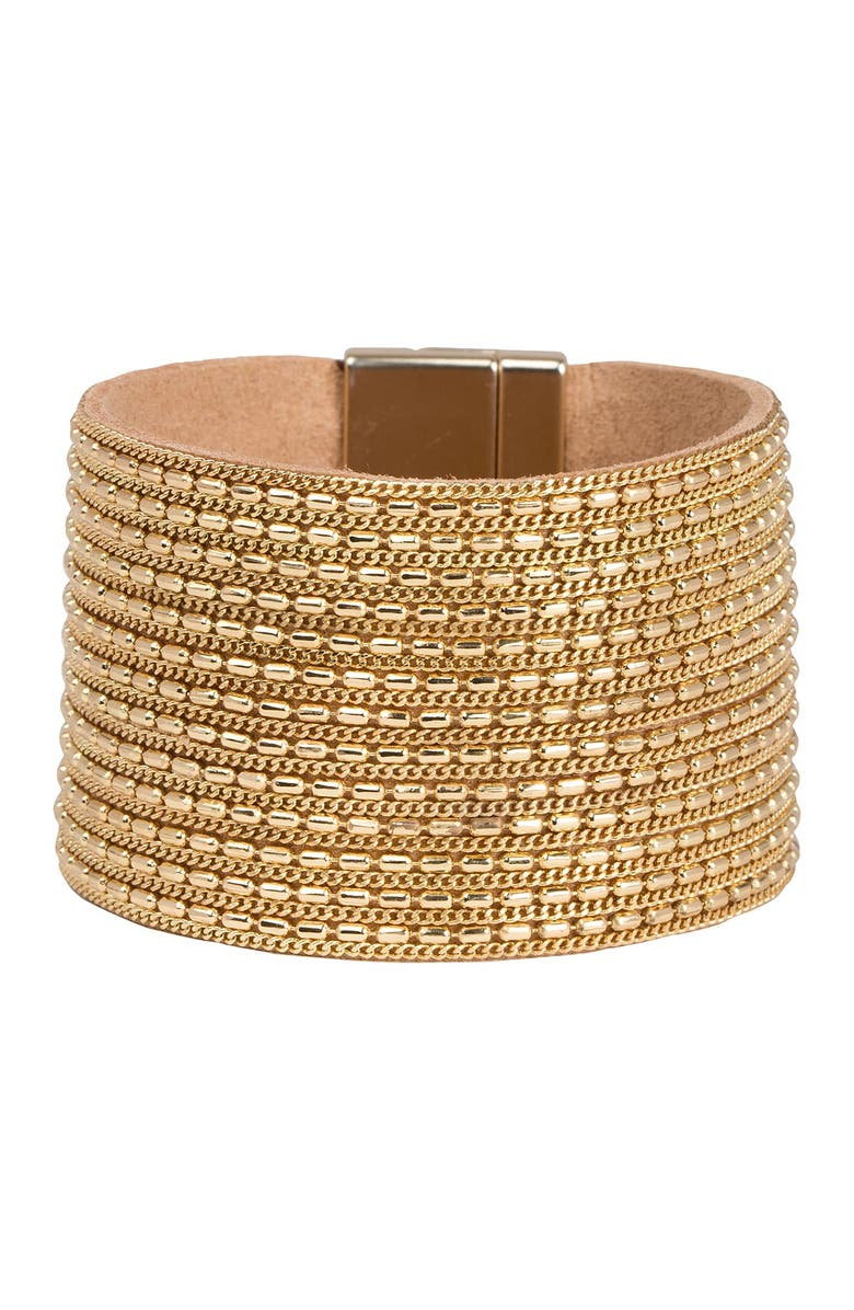 SAACHI Rock n' Roll Chain & Leather Cuff Bracelet, Main, color, GOLD