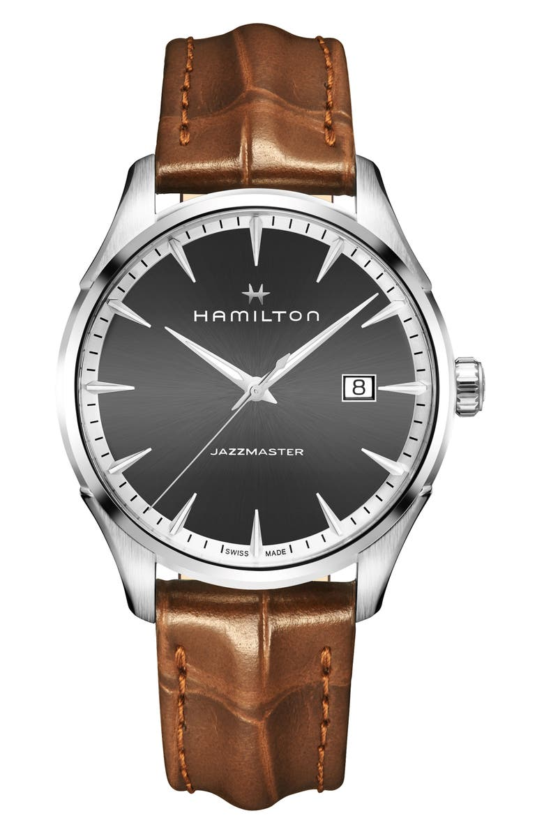 HAMILTON Jazzmaster Gent Leather Strap Watch, 40mm, Main, color, BROWN/ GREY/ SILVER