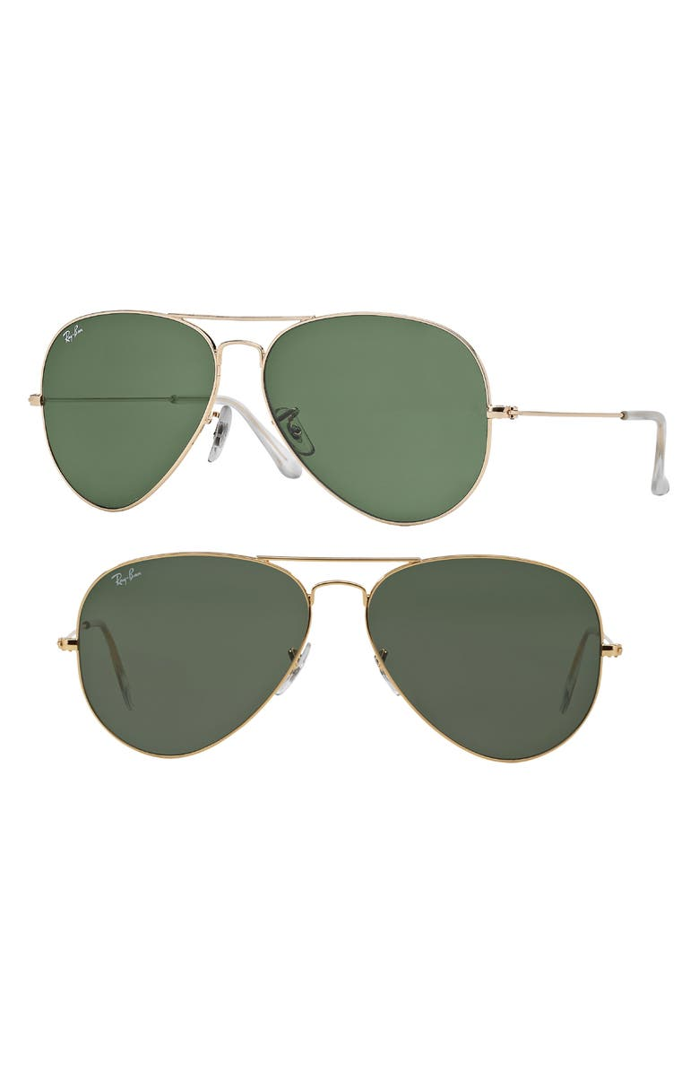 RAY-BAN Large Original 62mm Aviator Sunglasses, Main, color, GOLD/ GREEN