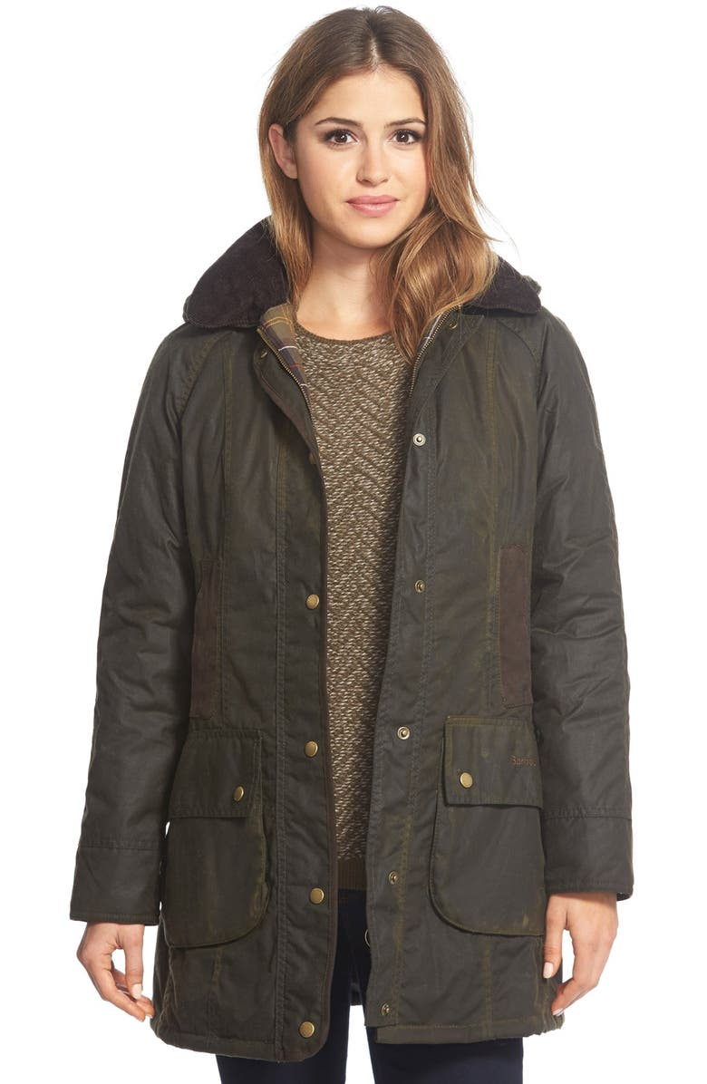 BARBOUR 'Bower' Waxed CottonJacket, Main, color, OLIVE