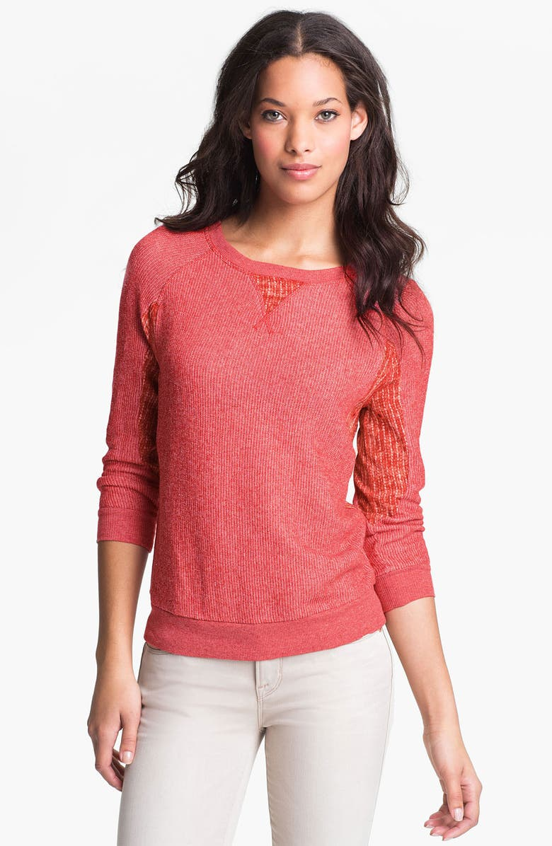 MARC BY MARC JACOBS 'Win' Mixed Media Sweatshirt, Main, color, CLARET RED