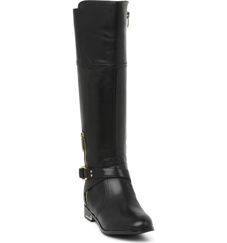 NINE WEST Linore Tall Riding Boot, Main, color, BLACK/BLACK
