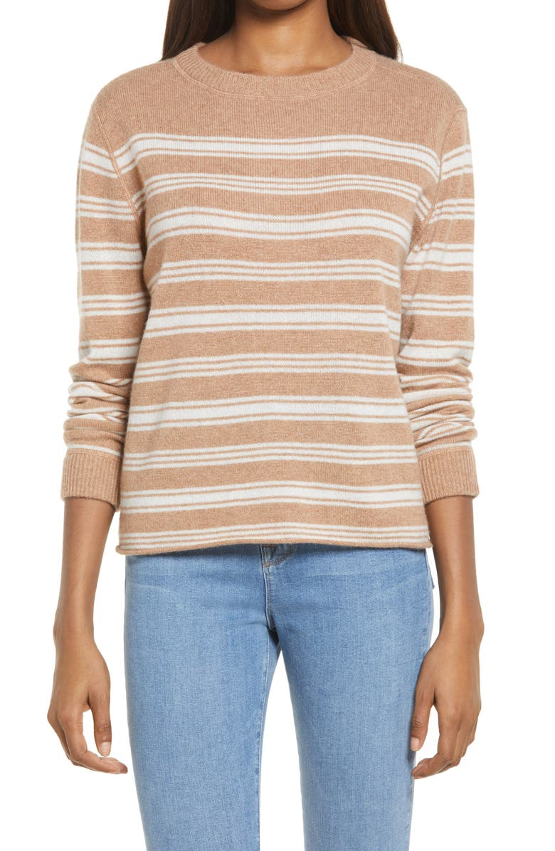 REFORMATION Cashmere Sweater, Main, color, CAMEL STRIPE