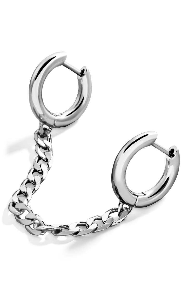 BAUBLEBAR Double Huggie Chain Earring, Main, color, Silver