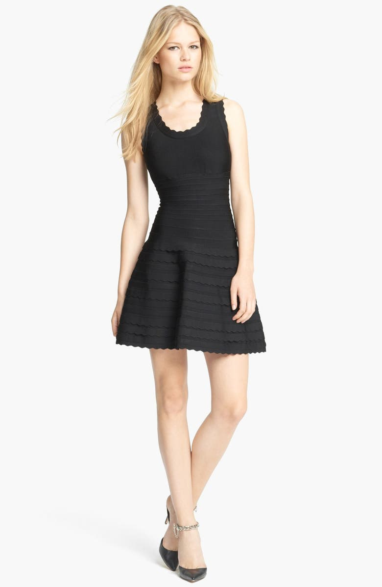 HERVE LEGER Scalloped A-Line Dress, Main, color, 001