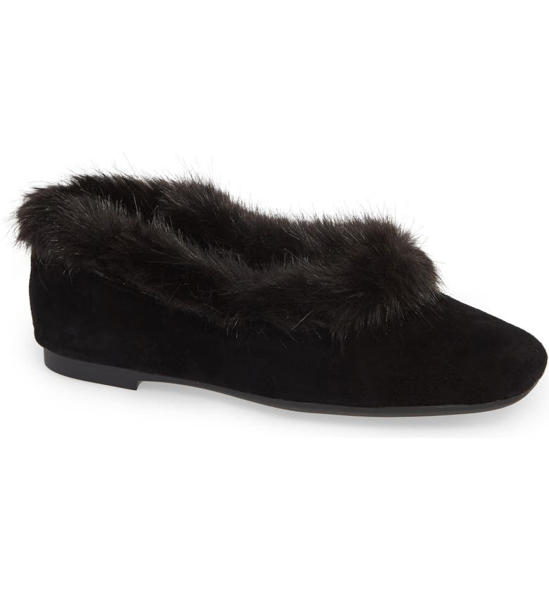 TARYN ROSE Ryanne Water Resistant Faux Fur Flat, Main, color, 001